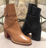 Ladys Botas couro de bezerro Genuine botas de fundo vermelho para mulheres Karistrap bundinha alta bloco salto da bota Ankle Boots com tiras de Salto Alto