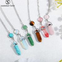 Coloré géométrique Colliers Pendentifs Vintage Bullet Pierre naturelle perles de cristal collier pour femmes Bijoux mode cadeau-Z