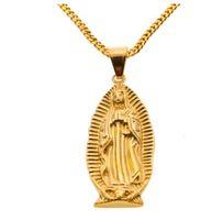 Big Dieu Sainte Vierge Marie Mère Charme Pendentif en or jaune couleur avec Chaînette cubaine Collier pour hommes et femmes