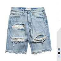 Mens Jeans Summer New High Street Distrressed Washed Solid Color Male Denim Shorts Hole Jeans Asian Size S-2XL