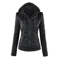 Plus Size Moto Jacket Brasão Streetwear Mulheres Zipper com capuz Hoodie das senhoras Casacos de couro sintético PU Jacket feminino Casaco de Inverno
