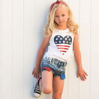 Independence Day Set da bambina Kids White Star Canotta a righe + Shorts in denim 2 pezzi Set 2019 New Summer Kids Abbigliamento firmato