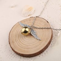 10 Snitch Angel wings Feather Necklaces Geometric round Gold...