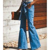 Kadın Kot Kadınlar Denim Trouse Moda Yüksek Bel Elastik Slim ile Geniş Bacak Büyük Flare Tam Boy Vintage Sashes