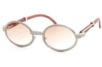 좋은 선글라스 프레임 18K 안경 빈티지 제한 7550178 품질 라운드 유니섹스 하이 엔드 다이아몬드 골드 우드 C 장식 Gla Ruwaa