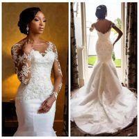 2019 pura mangas compridas renda sereia vestidos de casamento ilusão personalizado meninas negras nupcial vestidos de ritmo appliqued beading lantejoulas vestidos