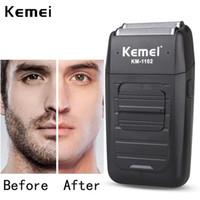Kemei rechargeable sans fil rasoir pour homme double lame de rasoir Barbe Reciprocating Soins du visage Tondeuse multifonction forte