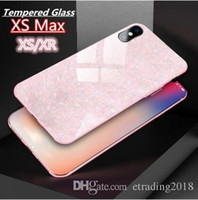 Luxury Glitter di alta qualità Shell Shell vetro temperato fondello per iPhone XS Max XS XR X 8 7 6 6S Plus Bling Custodia morbida cornice