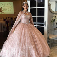 Design exclusivo Grande Xaile Rosa Quinceanera Vestidos de Prom 2021 Bling Lantejouled Querida Ruched Nova Noite Baratos 15 Party Vestidos 15 Anos