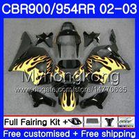 Bodys For HONDA CBR900RR CBR 954 RR CBR954RR 02 03 CBR900 RR 280HM.38 CBR 900RR CBR954 RR CBR 954RR 2002 2003 Fairing Yellow flames hot kit