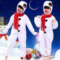 Disfraces niños muñeco de nieve Navidad de Santa Claus trajes blancos largo de la mascota del mono de mangas
