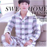 2019 Inverno Mens Flanella Set da pigiama O-Collo Manica lunga Calda Corallo Pile Pigiameria Due pezzi Set Pigiama maschile Pijama Hombre