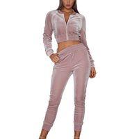 MoneRffi Женщины Velvet Two Piece Set Весна Осень Sexy 2 шт Tracksuit наборы Crop Sportwear Sexy пальто Топы Брюки Комплекты