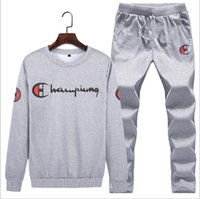 Men Tracksuits with Pants New Gyms Set Thicken Fleece Male A...