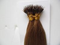 Keratin Straight European Micro Beads Capelli 100 pezzi Remy Nano Ring Links Estensioni dei capelli umani 1g / s Micro Link Estensioni dei capelli Umani