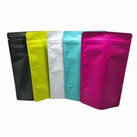 50pcs 12x20cm Matte colorido Folha de alumínio Stand Up Zipper fechamento de embalagem Bag Mylar Foil Pó Flor seco Bolsa de armazenamento Retail Pacote Bag