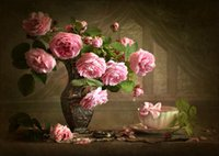 Accueil Décor bricolage 5D diamant Peinture point de croix Rose Rose Vase mosaïque diamant broderie couture motif Gifts strass