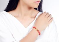 Transferencia chapado en oro 3D Animal Pixiu encanto del brazalete de la pulsera de ágata roja joyas de moda pulsera suerte Amuleto Riqueza