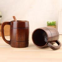 400 ML Klasik Ahşap Bira Bardağı Moda Çay Kahve Kupa Su Şişesi Isıya Dayanıklı Ev Ofis Parti Drinkware TTA1797