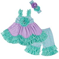 New Fashion Girls Clothes Children Green and Purple Ruffle L...