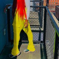 2020 Flake Грузовые брюки Женщины Высокие Талии Карманы RUCHED Плиссированные Сложинные Леггинсы Белл Брюки Брюки Брюки Дреднад Брюки Брюки T200521