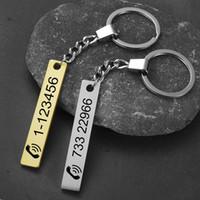 Logo Laser gravado Custom Car Presentes Nome de aço inoxidável chaveiro personalizado DIY Anti-lost prata chaveiro Dog Tag Anel SL-026