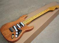 Legno naturale di colore chitarra elettrica di mogano con acrilico Battipenna, A pettine acero Manico di chitarra, giallo manico in acero, possono essere personalizzati