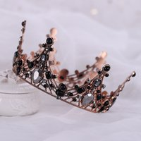 Vintage Baroque Crown Bridal Tiaras Headband Black Crystal W...