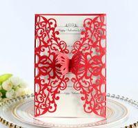 Tarjetas de la mariposa de la mariposa del corte del láser vertical para la boda de la ducha de la boda Invitación de cumpleaños Fiesta de la invitación del suministro de fiesta DHL