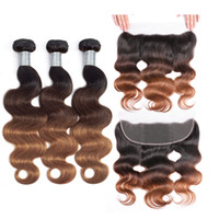13x4 Lace Frontal Closure With Bundles Ombre Brazilian Body ...