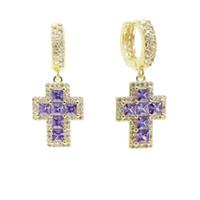 Люстра свисая люстра Мини кисточкой крест серьги с фиолетовым CZ асфальтированным обручем серебряный золотой цвет украшения для женщин девушки свадьба подарок