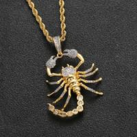 New Iced Out Micro Pave KubikZircon Tier Scorpion hängende Halskette für Männer Frauen Hip Hop Bling Partei Schmuck