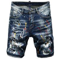 Summer Court Jeans Hommes Ripped Shorts Torn stretch Imprimé Homme Summer New Hip Hop Streetwear Peinture peinte à la main Cinq Pantalons