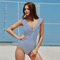 Costumi da bagno sexy da donna Retro scollo a V Costume da bagno a righe blu One Piece Increspato Push Up Vita alta Costumi da bagno Donna In stile Monokini Beach Wear