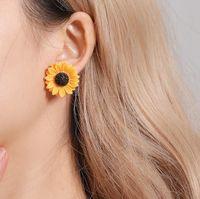New Fashion colar brincos flor Sun Sets jóias femininas Moda girassol Colar Stud