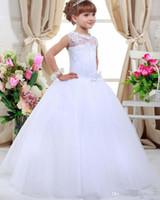 2016 Flower Girl New Hot Branco Marfim vestido de baile Vestidos Primeira Comunhão vestidos para meninas vestidos de comunion Princess Dress