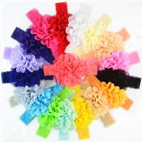 Baby-Haar-Zusätze 18pcs / lot Chiffon- Blumen Neugeborene Stirnband-elastische Spitze Bögen für Mädchen Baby-Haar beugt Haarbänder für Mädchen