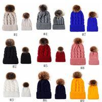 الخريف والشتاء الكرة تطور قبعة متماسكة الدافئة الإناث جديلة تقليد الوالدين والطفل الكرة الشعر قبعة من الصوف EEA559