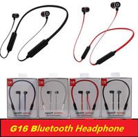 G16 Auriculares inalámbricos Auriculares magnéticos Bluetooth con micrófono Sweatproof Sports Bluetooth 4.2 para el teléfono iPhone xiaomi