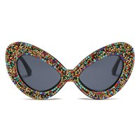 Hot selling butterfly frame sunglasses frame Pearl Rhineston...