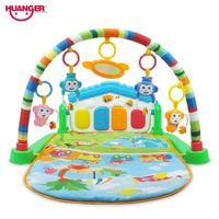 Huanger Baby 3 in 1 Play Mat Entwickeln Krabbeln Musik Mat Kinder mit Keyboard Infant Fitness Teppich Educational Rack-Spielzeug