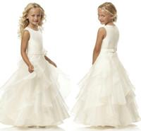 Venda Hot A Linha Scoop Marfim Organza Belt florista vestidos até o chão Flor Belt Vestidos menina para o casamento