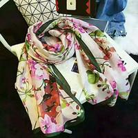 Haute qualité 100% Silk Foulard Mode Print Modèle Collier Dames 180 * 90cm Écharpes de concepteur châle avec boîte