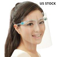US Navire de protection masque facial avec lunettes transparent Anti liquides Visage Bouclier anti-poussière Splash bouche visage clair Masque de protection FY8083