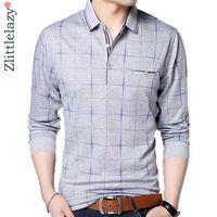 2019 moda camisa marca polo homens bolso aptidão xadrez camisa pol masculino streetwear mens polo camisas camisolas CY200515 poloshirt