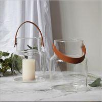 Уникальный Северное стекло хранения Jar бутылки с кожаной ручкой Минималистский стол для хранения бутылок Организатор Цветочная ваза Контейнер Декор