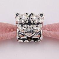 Autentyczne 925 Sterling Silver Beads Najlepsi kumple Urok Charms pasuje do European Pandora Styl Bransoletki Biżuteria Naszyjnik 792151