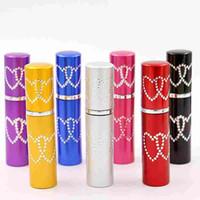 5 ML 10 ML Doble Amor Corazón Mujer Botella de Perfume Atomizador 2 corazón Metal Aluminio Vidrio Contenedor Vacío Recargable Regalo Portátil