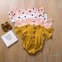 طفل الرضيع رومبير الصيف الوليد الفتيات البوق الأكمام لينة حللا لطيف الكرتون الجزرة نقطة الميناء مصمم تسلق الملابس CZ427