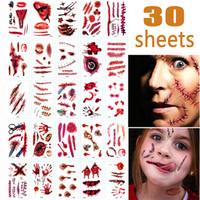Cadılar Bayramı Dövme Çıkartma Kanlı Skar Sticker Geçici Dövme Masquerade Prank Makyaj Dikmeler Parti Cosplay Kostüm JK1909